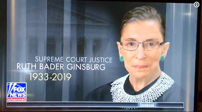 This morning on Fox News.   Ginsburg is NOT DEAD.