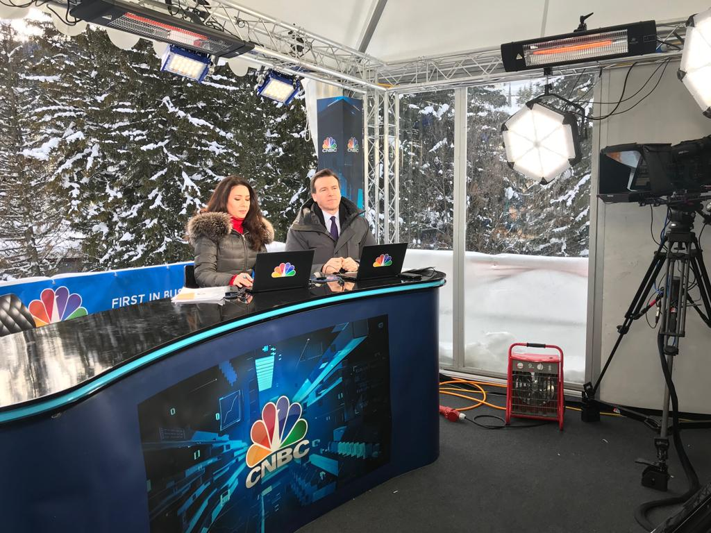 And we're off on @CNBCi. @GeoffCutmore & @cnbcKaren are live now from Davos #WEF19