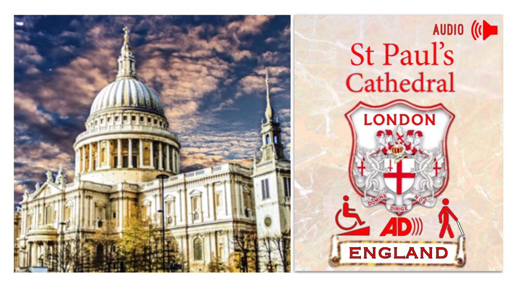 The iconic door of Saint Pauls Cathedral at dusk Saint Pauls Cathedral London England wheelchair access audio description visually impaired