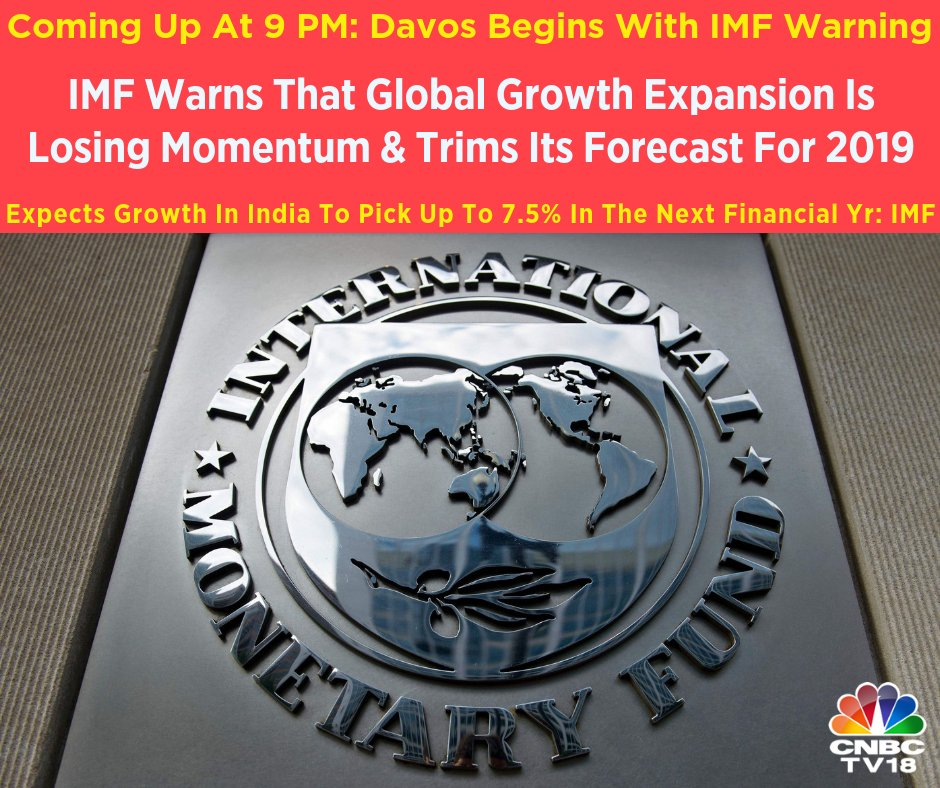 #TopStory | The @wef kicks off in @Davos . International Monetary Fund warns that global growth expansion is losing momentum & trims its forecast for 2019 but expects growth in India to pick up to 7.5% in next FY. Details at 9 PM on India Biz Hour |   @ShereenBhan#wef19#Davos2019