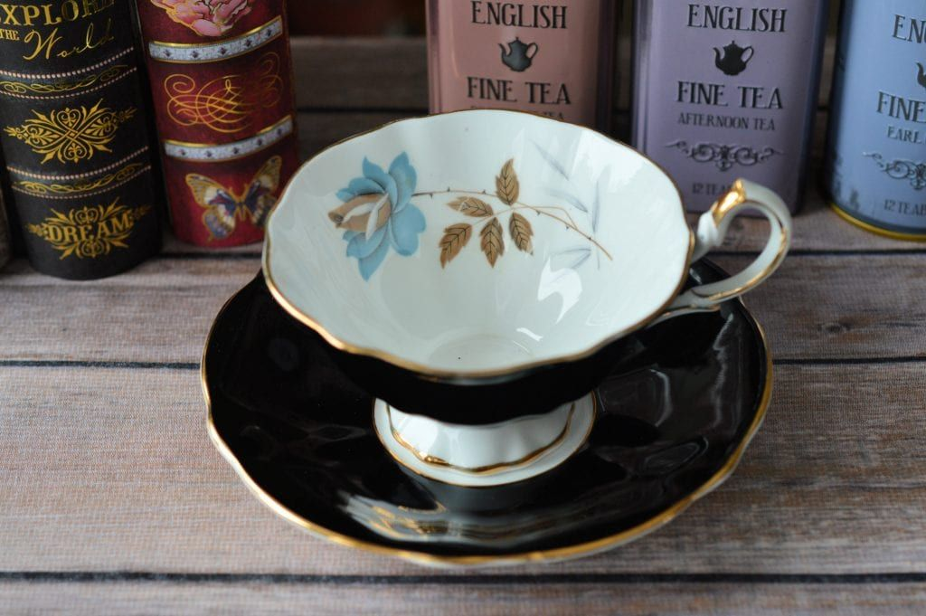 #Queen #Anne #Black #Teacup With #Blue #Rose #vintage #tea #cup #antique https://buff.ly/2E8f1MN