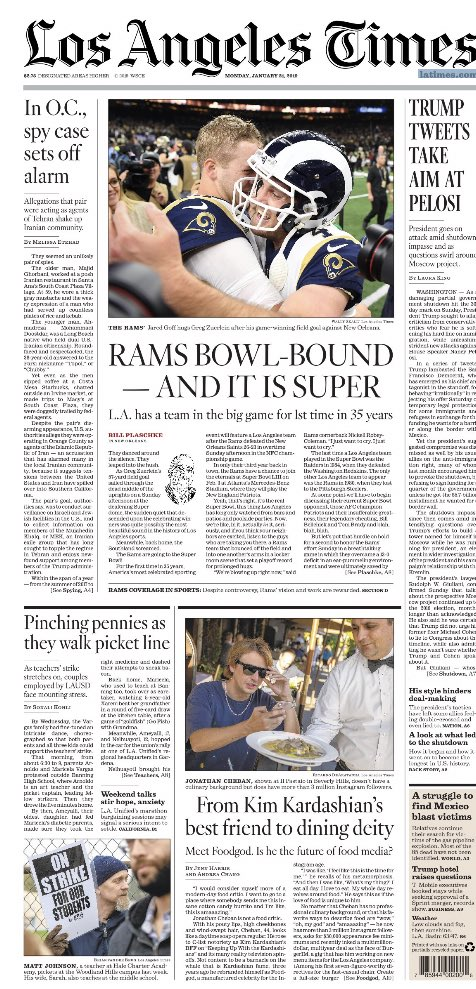Monday's LA Times front page and sports cover after the Rams win the NFC and head to the Super Bowl. Saints fan will not want to see @rgaut999 great photo of non PI call