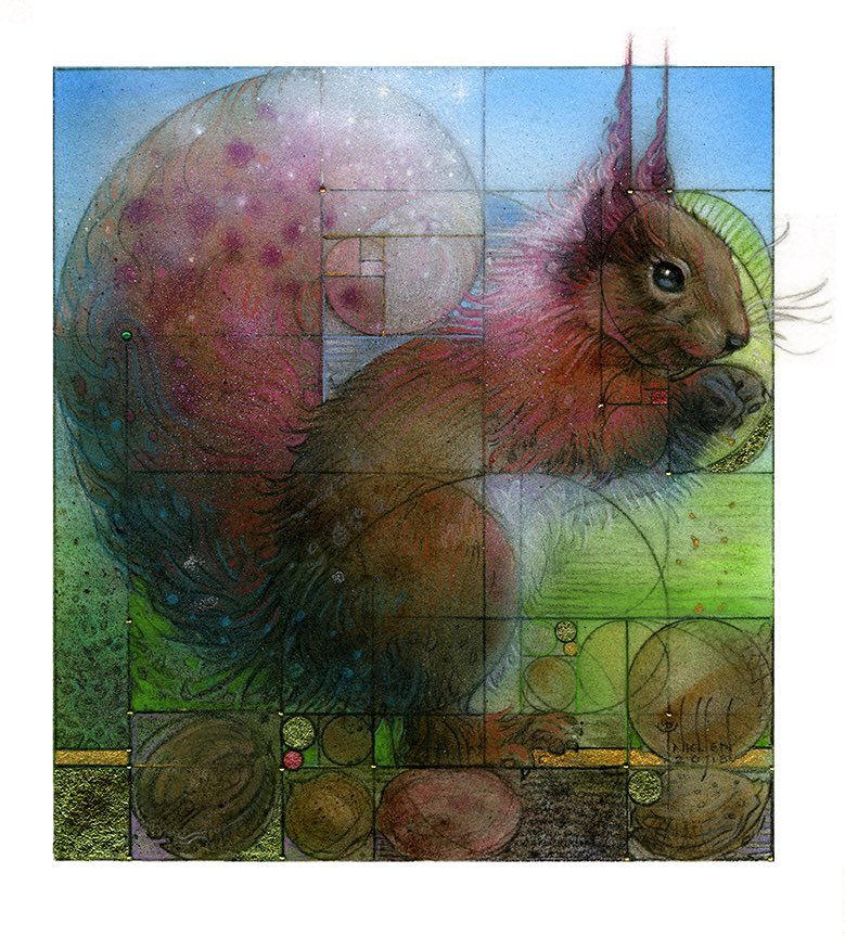 "#SquirrelAppreciationDay 🐿 I call him my Fibonacci Squirrel. Tiny piece 6x6"", oil, colored pencil, gold leaf, iridescent powder. Squirrel symbolism: activity, masters at preparing, yet reminds us in our quest for goals, always make time to socialize & play."