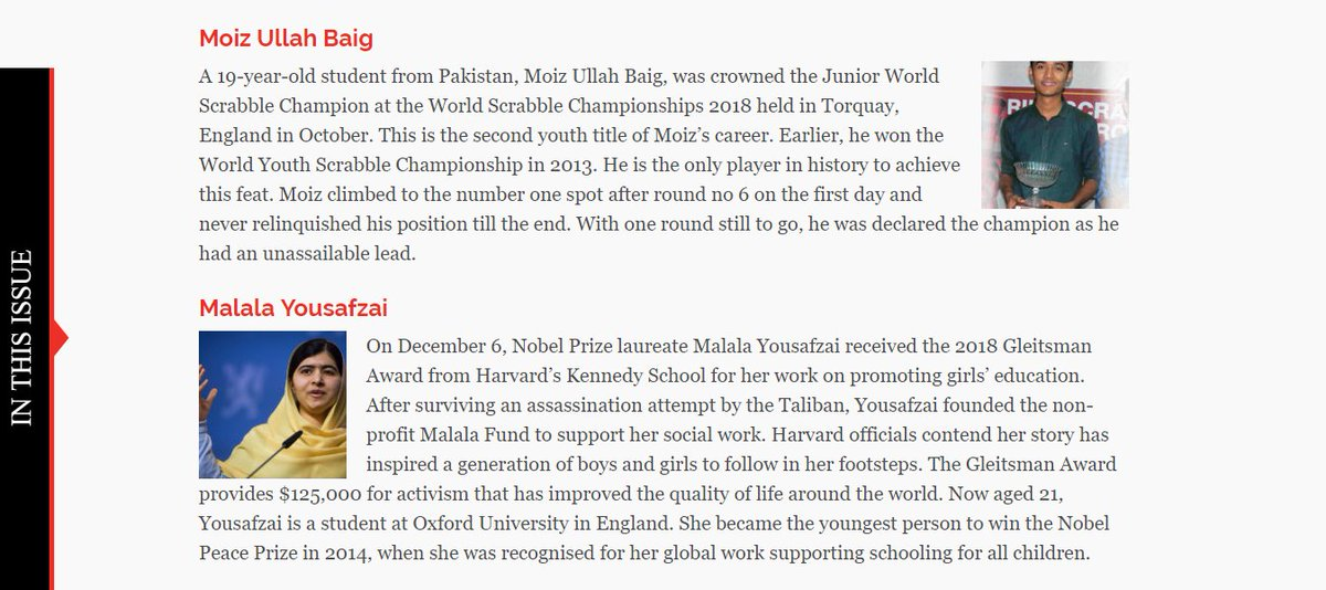 Included in this article of Newsline Magazine titled 'The Prized Ones', which consists of Pakistanis in diverse fields who have made a mark internationally in 2018. P.S. I'm 21.  Link: https://t.co/j8Lb8pq60Q https://t.co/ZE9wO5hfwI