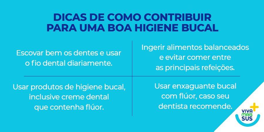 Uma boa higiene bucal vai além de ter um sorriso bonito. O cuidado com os dentes diminui o risco do desenvolvimento de problemas na boca e nos dentes. Acesse https://t.co/IxfPxLl0H1 e veja mais sobre a importância de uma boa higiene bucal. #VivaMaisSUS