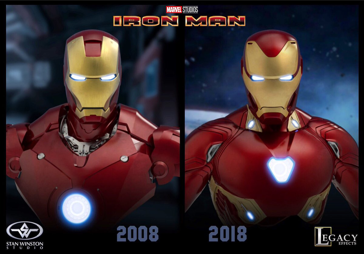 Legacy Effects On Twitter Legacy S Shane Mahan Proudly Led The Iron Man Suit Team In 2008 Stan Winston Studio Continuing Thru Avengers Infinity War 2018 And Now Endgame 10yearchallenge Ironman 2008 2018