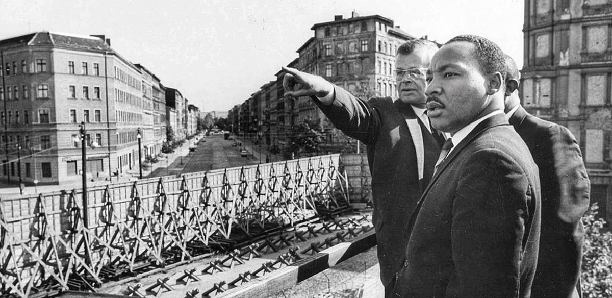 """Martin Luther King Jr.: """"For here on either side of the wall are God's children and no man-made barrier can obliterate thatfact.""""  MLK....1964 BERLIN WALL.  #NoWallEver"""