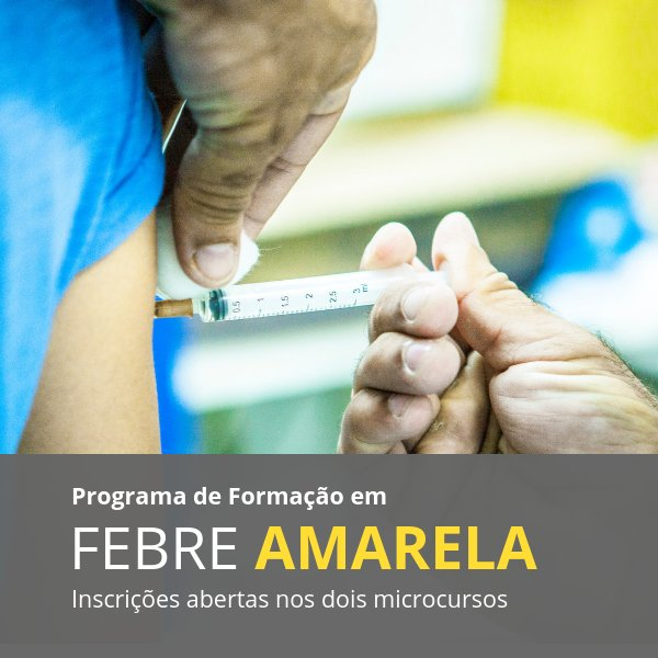 Inscrições abertas para dois minicursos de febre amarela. O objetivo dos cursos, online e gratuitos, é manter profissionais da saúde atualizados com relação à doença. Os minicursos são uma parceria entre a #Fiocruz, a Universidade Aberta do SUS e a @pahowho. #CursosnaFiocruz