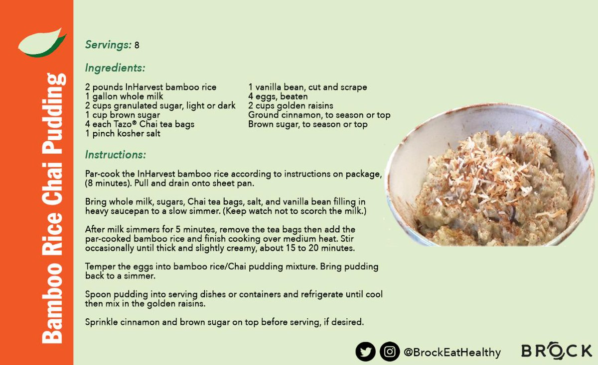 There's nothing better than #ricepudding to warm you up! Try our #BrockUNIQUEats #BambooRice #ChaiPudding recipe! You can grab the recipe cards for this & #Bamboo #Rice Risotto at your Brock location through the end of the month.  #recipe #dessert #food #chaitea #chai #tea #yum