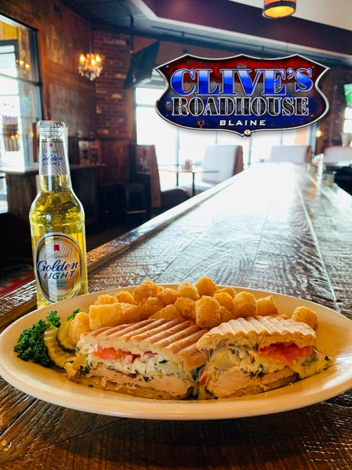 Today's lunch special is the 'Chicken Artichoke Panini'!  Soup: Tomato Florentine  Also, join us in Blaine for happy hour drinks from 11-6! #Food #ClivesRoadhouse #foodie #goodfood #Dining #Restaurants