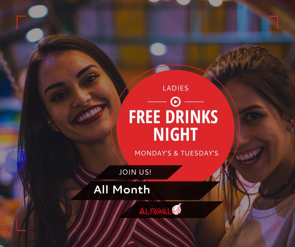 Every Monday & Tuesday - Ladies Get Free Drinks!  Reserve Online! https://www.alfawal.ca/table-reservation …  *some restrictions may apply* #alfawal #restaurant #food #Mediterraneanrestarurant #mississauga  #arabicfood #shawarma #deal #Drinks #tueday #tea #coffee #nightout #FREEDRINKS #monday