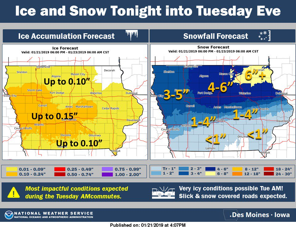 Winter weather returns tonight. Extremely icy conditions possible for the Tuesday morning commute! #iawx