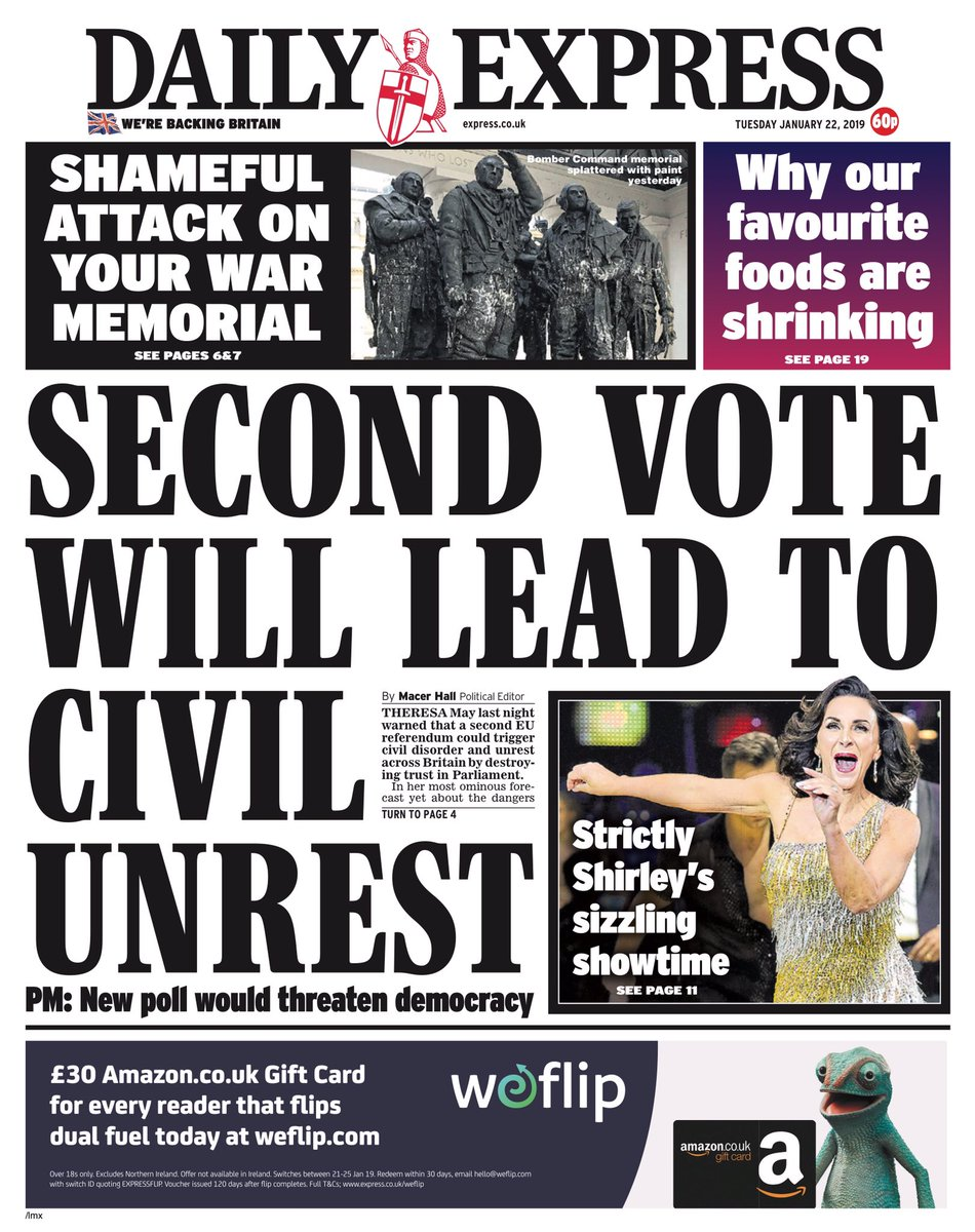 Tuesday's Express: 'Second vote will lead to civil unrest' (via @bbchelenalee) #tomorrowspaperstoday https://t.co/bJq7Ig68L9