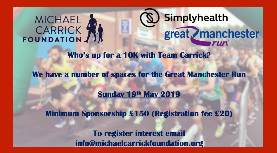 🚨Calling all runners!🚨 As well as the half marathon, we also have a number of places for the Manchester 10k! If you're up for the challenge register your interest by emailing info@michaelcarrickfoundation.org #MotivationMonday 🏃🏼♀️🏃🏻♂️💪🏼