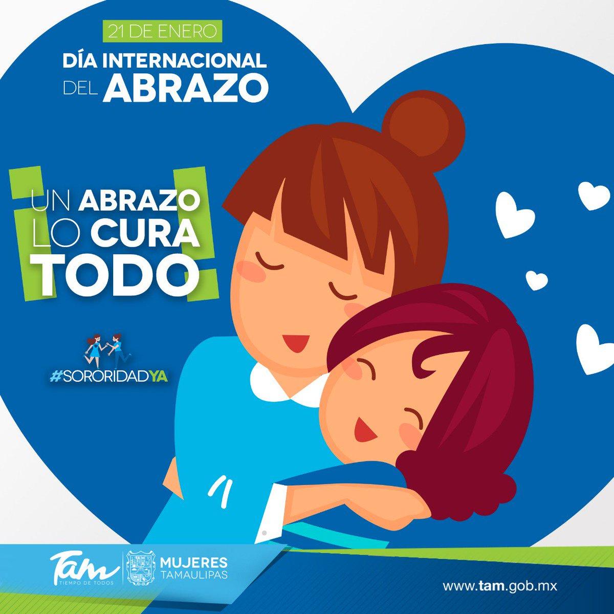 ¡Hoy es #DíaInternacionalDelAbrazo! 🤗 Cuando abrazamos a alguien mostramos nuestra capacidad de transmitir la ternura y la alegría que hay en nosotros, además de la riqueza interior que poseemos. #SororidadYa #MujeresTam #GobTam #TiempoDeTodos