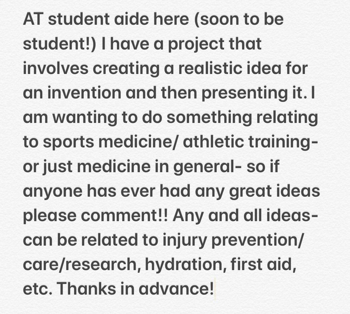 sports medicine project ideas