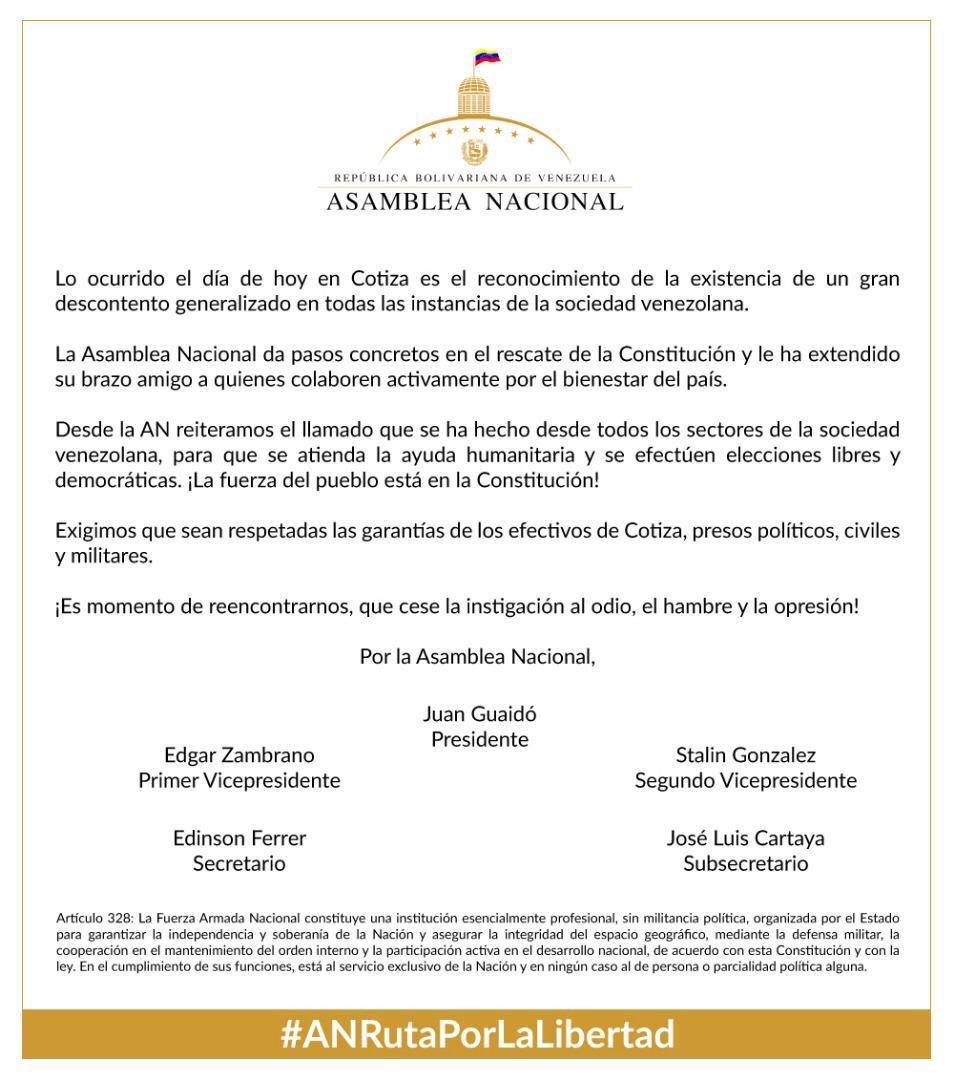 📣 Posición de la #AsambleaVE ante los hechos ocurridos el día de hoy en #Cotiza 🇻🇪