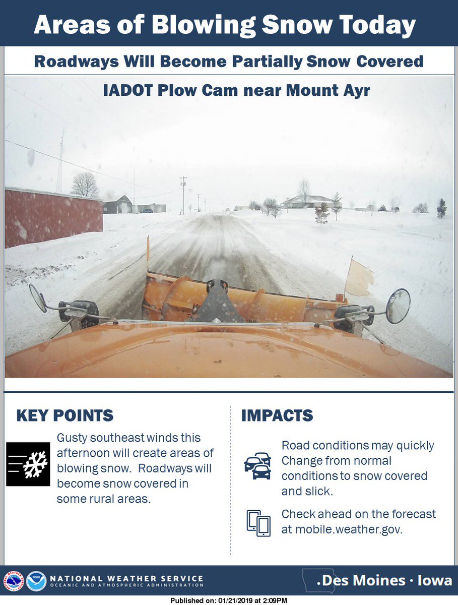 Areas of blowing snow in rural areas has caused locally snow covered roadways. #iawx @iowadot