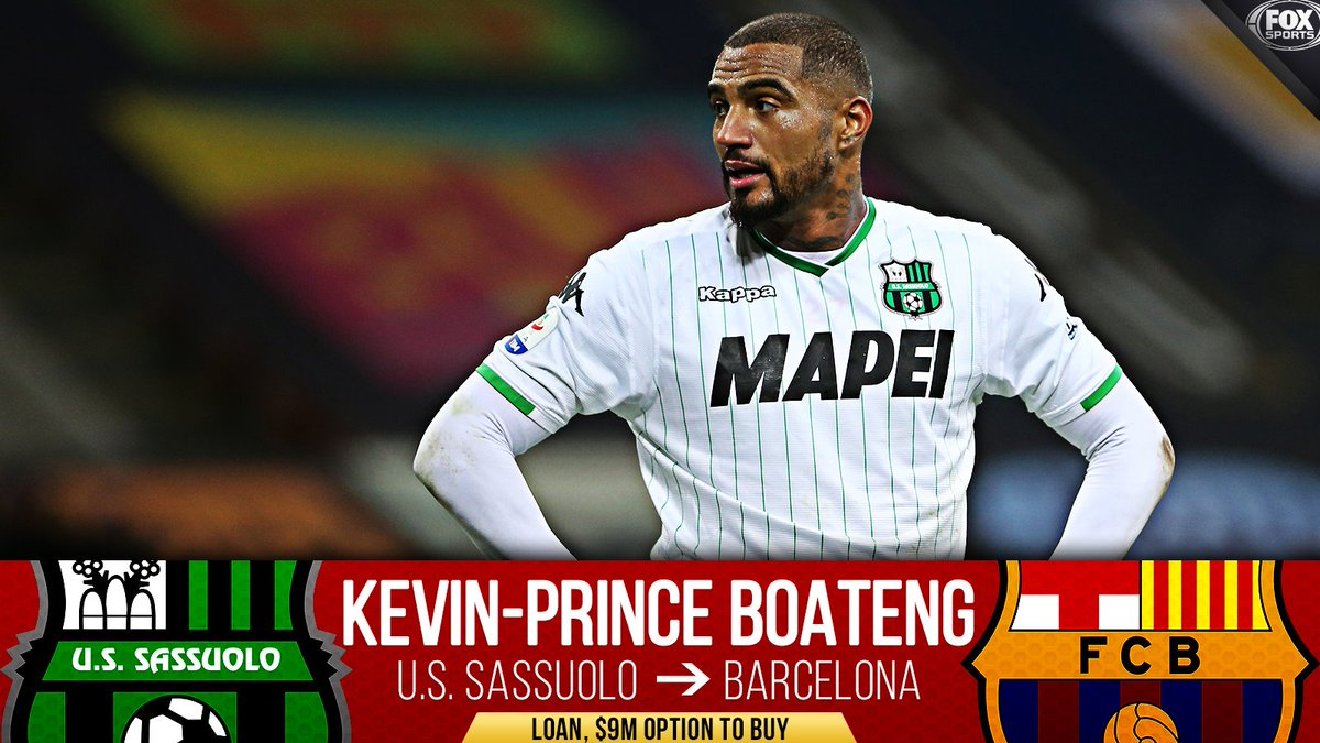 Kevin-Prince Boateng is headed to Barcelona!  He joins Barcelona on loan for the rest of the 2018-19 season with an option to buy.