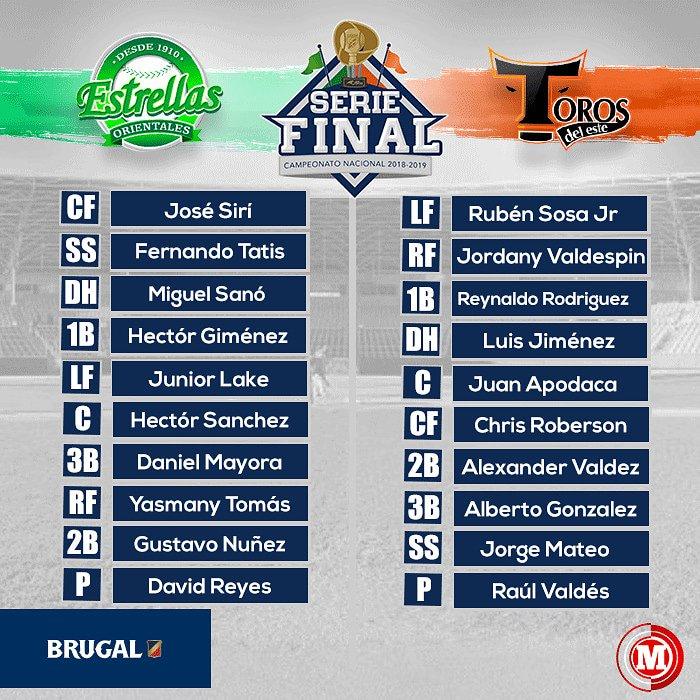 #MarcadorBrugal Alineaciones titulares para el Juego 4 de la Final en la Pelota Invernal Dominicana. Estrellas 🌟 🆚 Toros 🐂 #BeisbolConBrugal #EquipoBrugal