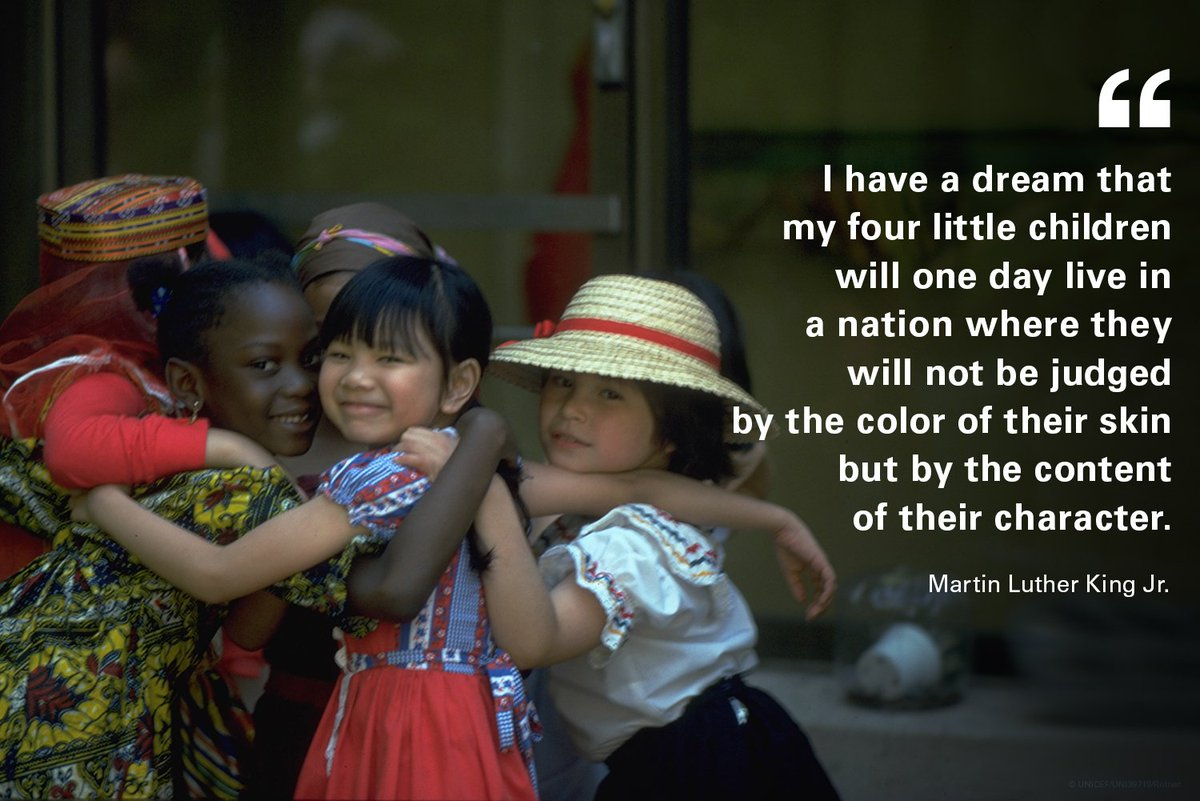 It's on all of us to build a more just and equitable world.  #ForEveryChild, a fair chance. #MLKDay