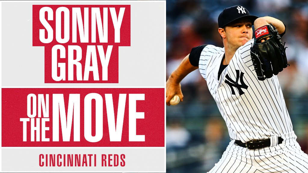 .@Reds acquire RHP Sonny Gray from @Yankees, @Ken_Rosenthal reports. Clubs have not confirmed.
