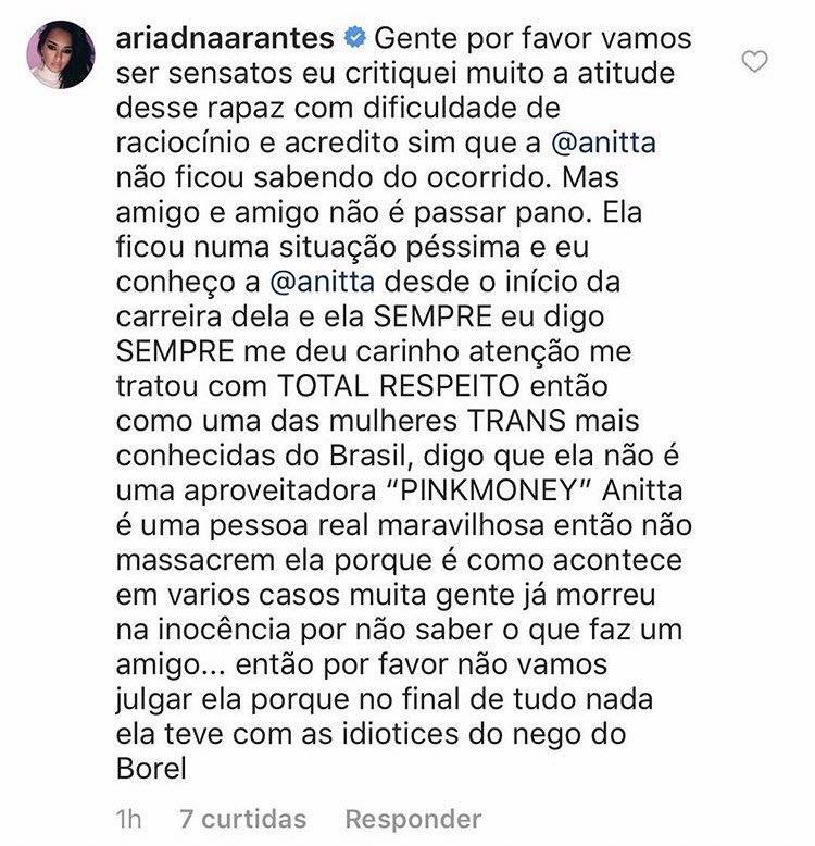 """Ex-BBB Ariadna Arantes entre em defesa de Anitta sobre caso envolvendo Nego Do Borel: """"SEMPRE me deu carinho"""""""