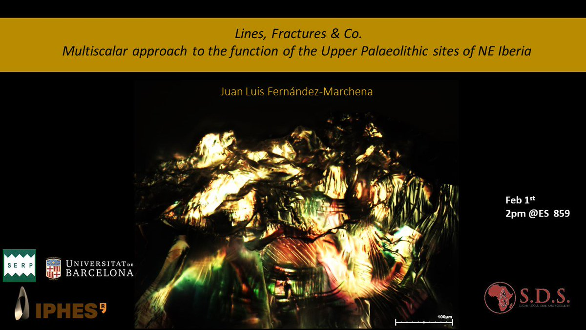 @SERP_UB / @traceoiphes Visiting Scholar Juan Luis Fernandez will be joining the project at the @UCalgary to give a presentation titled 'Lines, Fractures & Co. Multiscalar approach to the function of the Upper Palaeolithic sites of NE Iberia' on Feb 1, 2pm