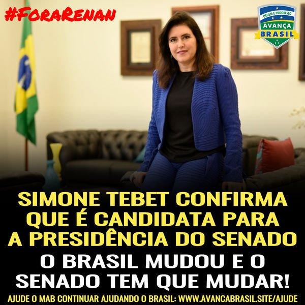 Simone Tebet confirma que é candidata para a Presidência do Senado.  O Brasil mudou e o Senado Federal tem que mudar!  #RenanNão