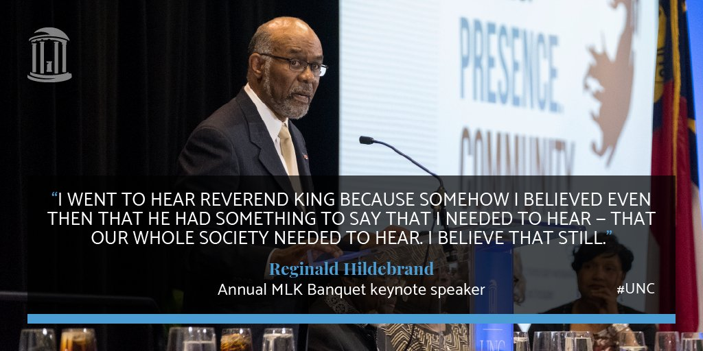 At Sunday night's ceremony, keynote speaker Reginald Hildebrand shared why the lessons we learned from King are as important as ever: https://t.co/1YYeKnfOpz #MartinLutherKingJrDay #UNC https://t.co/c8wAUJHXMb