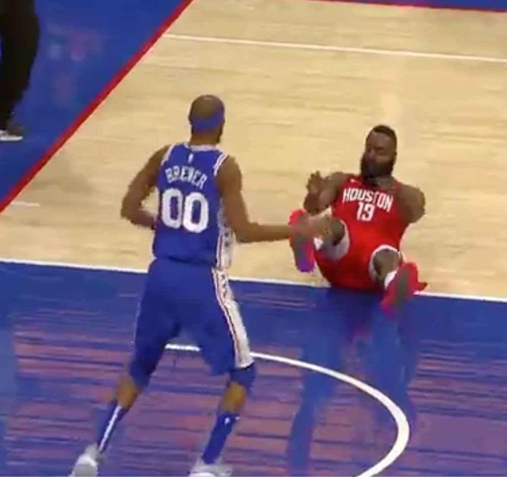 James Harden fell down and Corey Brewer was *still* playing defense 😂