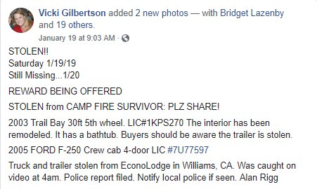 Truck and trailer belonging to a #CampFire survivor stolen in Williams, CA, on 1/19. BOLO for them. Let's catch this/these thieves!!!!!!