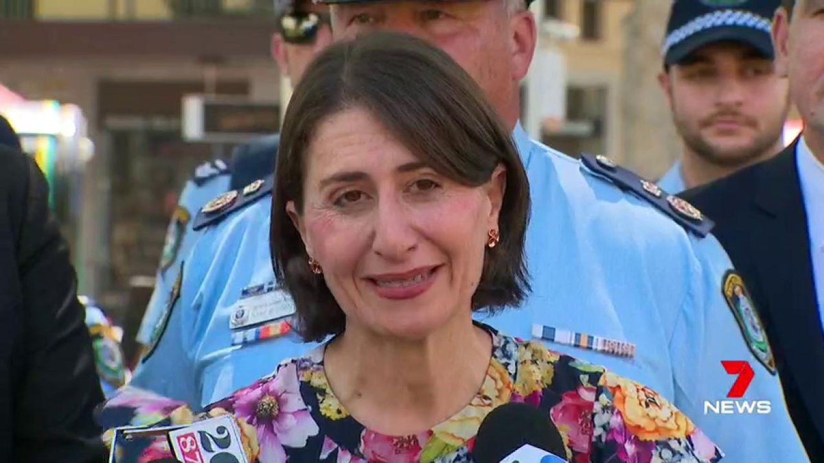 There was a security scare for @GladysB and her Police Minister today ironically in the middle of an announcement intended to make us feel safer. A man was dragged away from their media conference as they unveiled a new command. @Seanberry7news #7News
