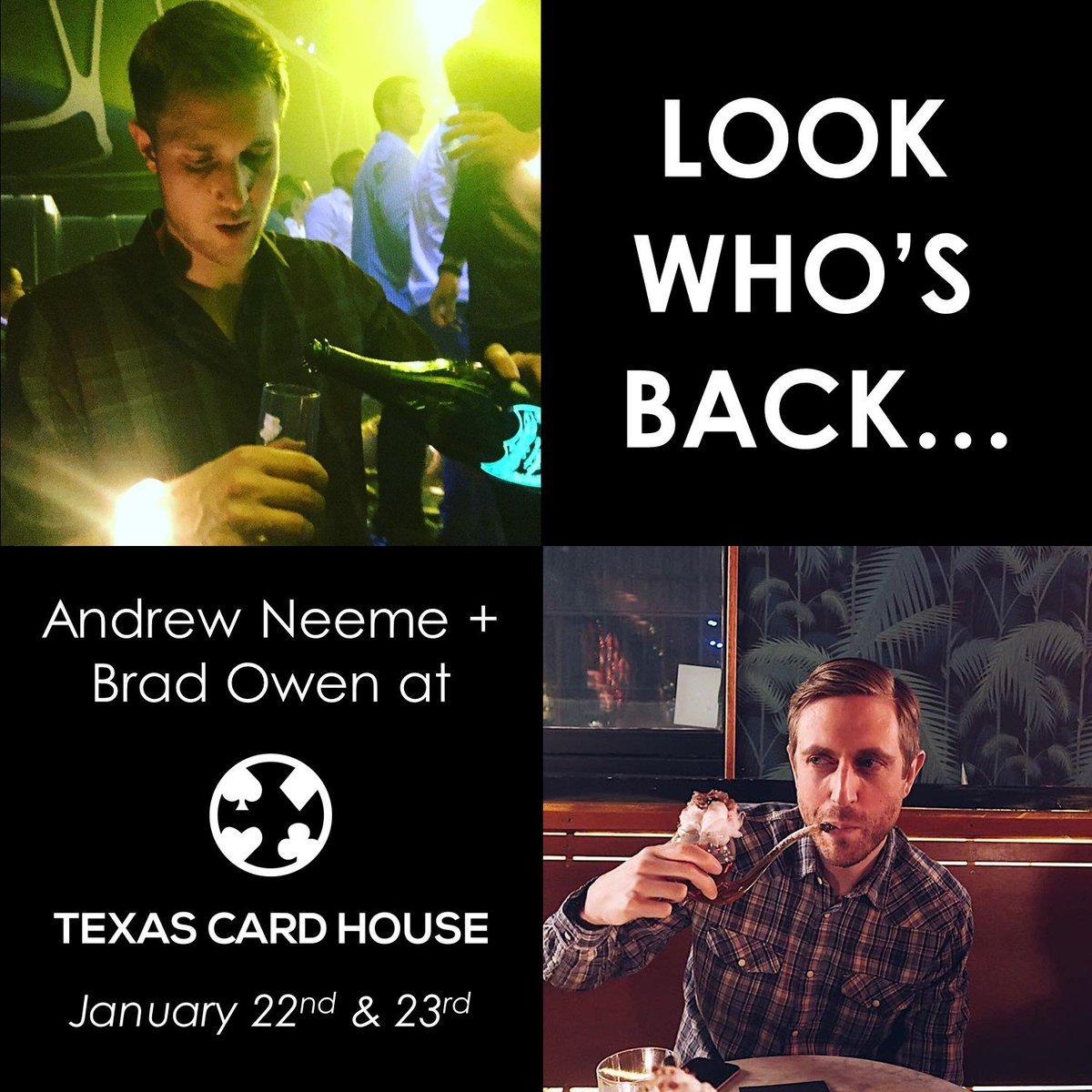 @andrewneeme + @TheBradOwen TUESDAY at @texascardhouse for a 5/5 Meet Up Game starting at 6p! Last time they were here we had 6+ tables of 5/5 going all night long!  https://tch.cards/55mug   #poker #austin #texas #texasholdem #pokertournament