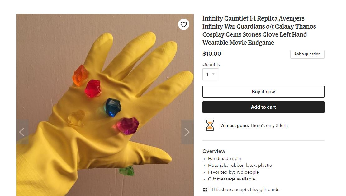 RT @LaserCorn: Found this on Etsy. Perfect recreation of the Infinity Gauntlet. And only 10 bucks! What a steal. https://t.co/FiMfo9dpau