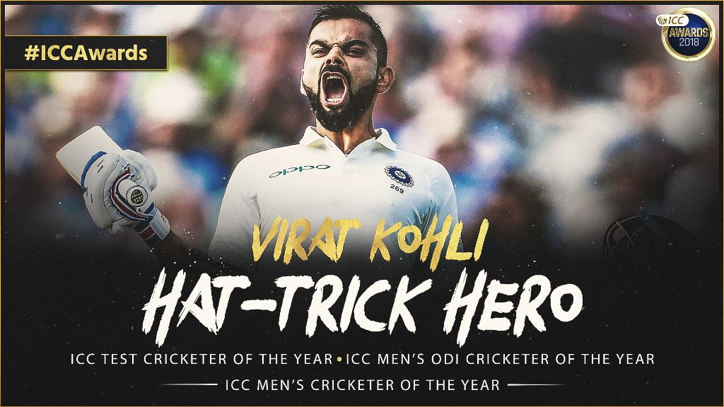 Sir Garfield Sobers Trophy for ICC Men's Cricketer of the Year 🏆 ICC Men's Test Cricketer of the Year 🏆 ICC Men's ODI Cricketer of the Year 🏆  India's superstar @imVkohli wins a hat-trick of prizes in the 2018 #ICCAwards!   ➡️  https://t.co/ROBg6RI4aQ