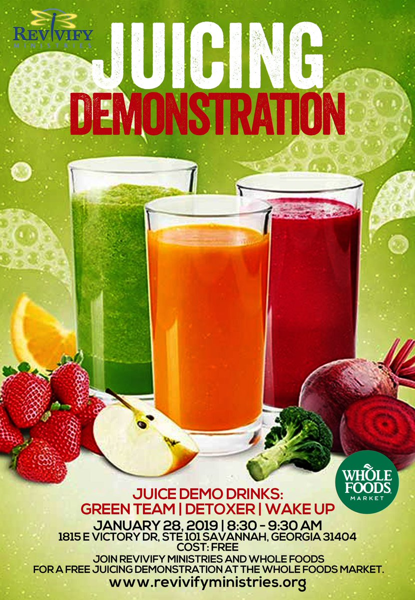 Revivify Ministries is partnering with Whole Foods Market for a juicing demonstration next week!  Could not be more excited! #revivifywomen @revivifywomen #veterans #women #metoo http://www.revivifyministries.org https://www.eventbrite.com/e/juicing-demonstration-tickets-55191668767…