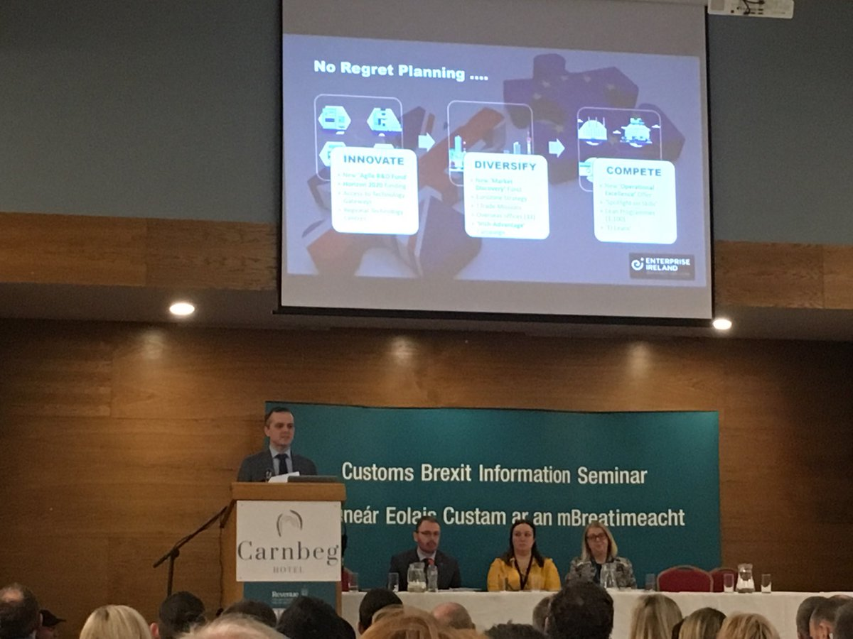 Manus Rooney ⁦@Entirl⁩ talking at the ⁦@RevenueIE⁩ #customs seminar in ⁦@CarnbegHotel⁩ #dundalk #louth Presentations to be made available on Revenue website #brexit