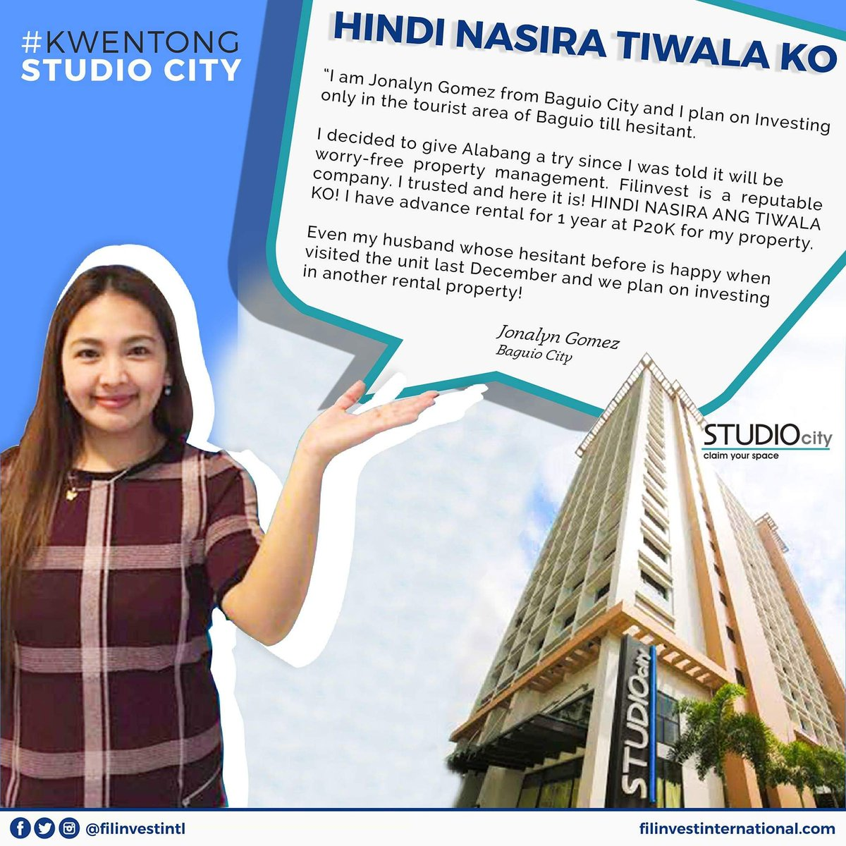 Hi Kabayan,  Look how Jonalyn Gomez trusted her investment in Studio City!  #FilinveStories #InvestmentTips #HappyFilinvestor #Filinvest #FilinvestorInspires #FilinvestInternational #OFW #Investment #RealEstate #Opportunity #RentalIncome #ExtraIncome #Family #Future #Condominiums https://t.co/UqUoUeRRh7