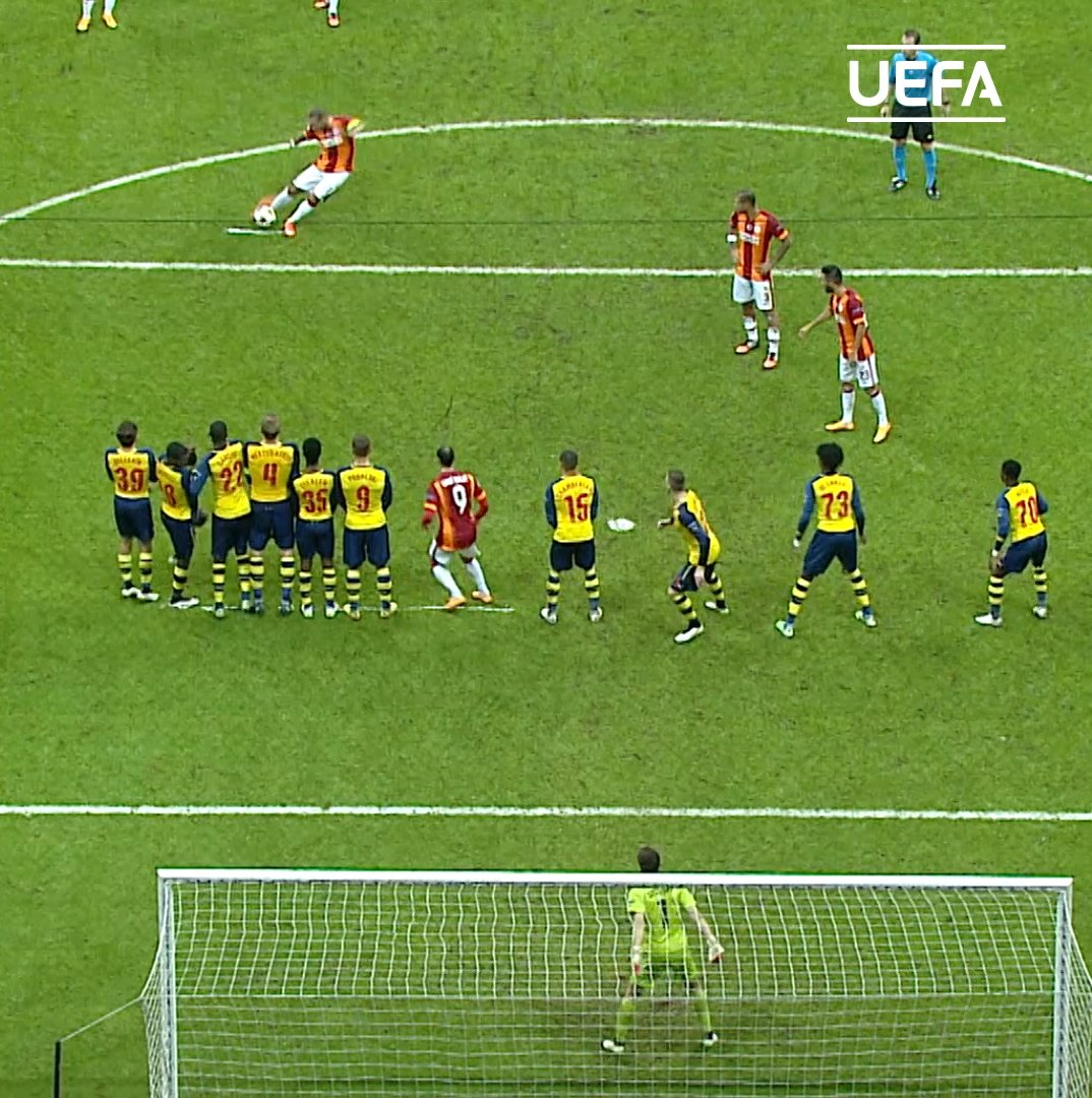 Sneijders right foot ➡ Top bins 🚀 @Galatasaray 🎥 @ChampionsLeague
