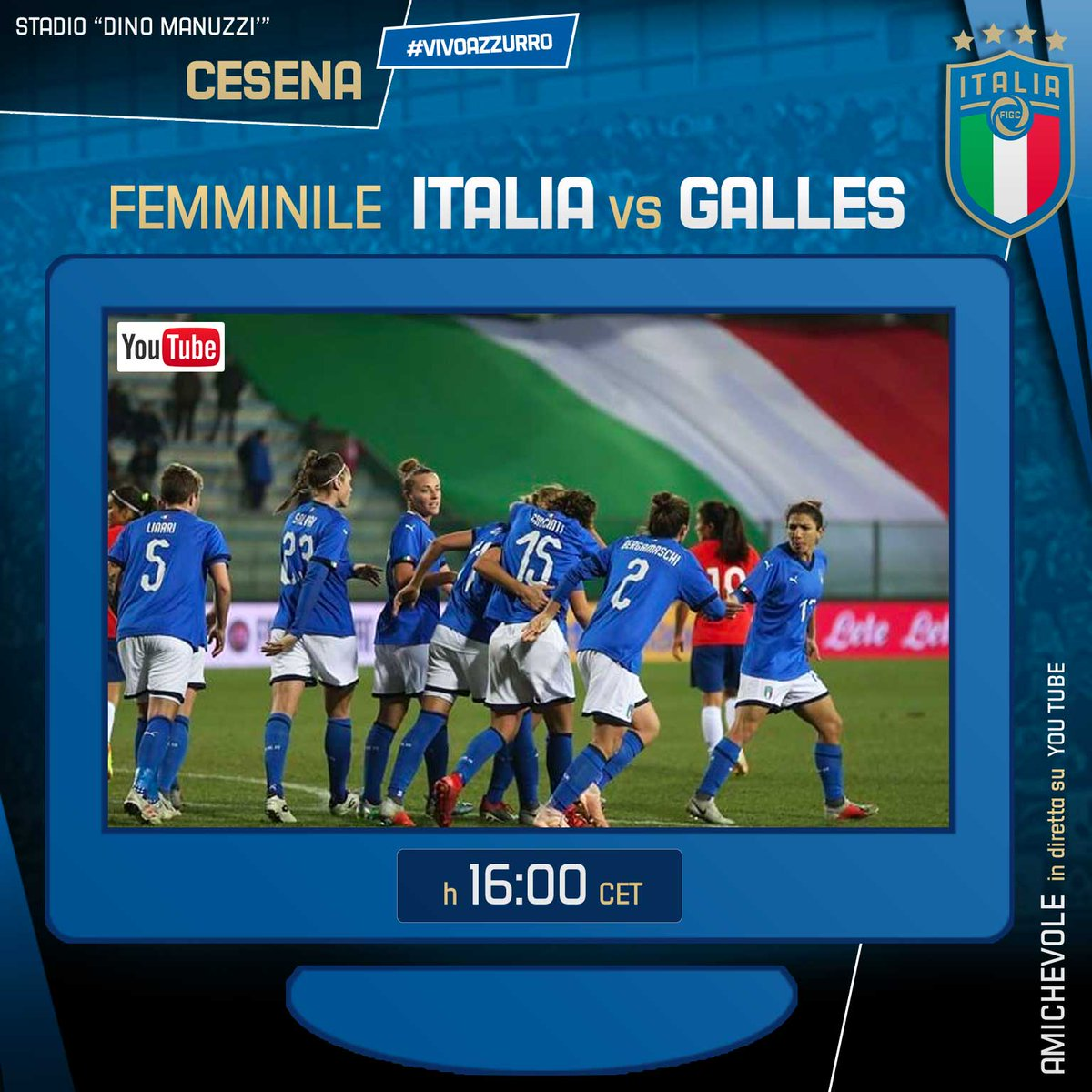 #Azzurre 💙 🇮🇹 #ItaliaGalles🏴 - Amichevole 🏟 Stadio #DinoManuzzi - #Cesena 🗓 Oggi ⏰ h 16.00 💻 Diretta streaming #YouTube ℹ️ Info: https://bit.ly/2sEnBel  #VivoAzzurro #Nazionale #ForzaAzzurre @FIGCfemminile
