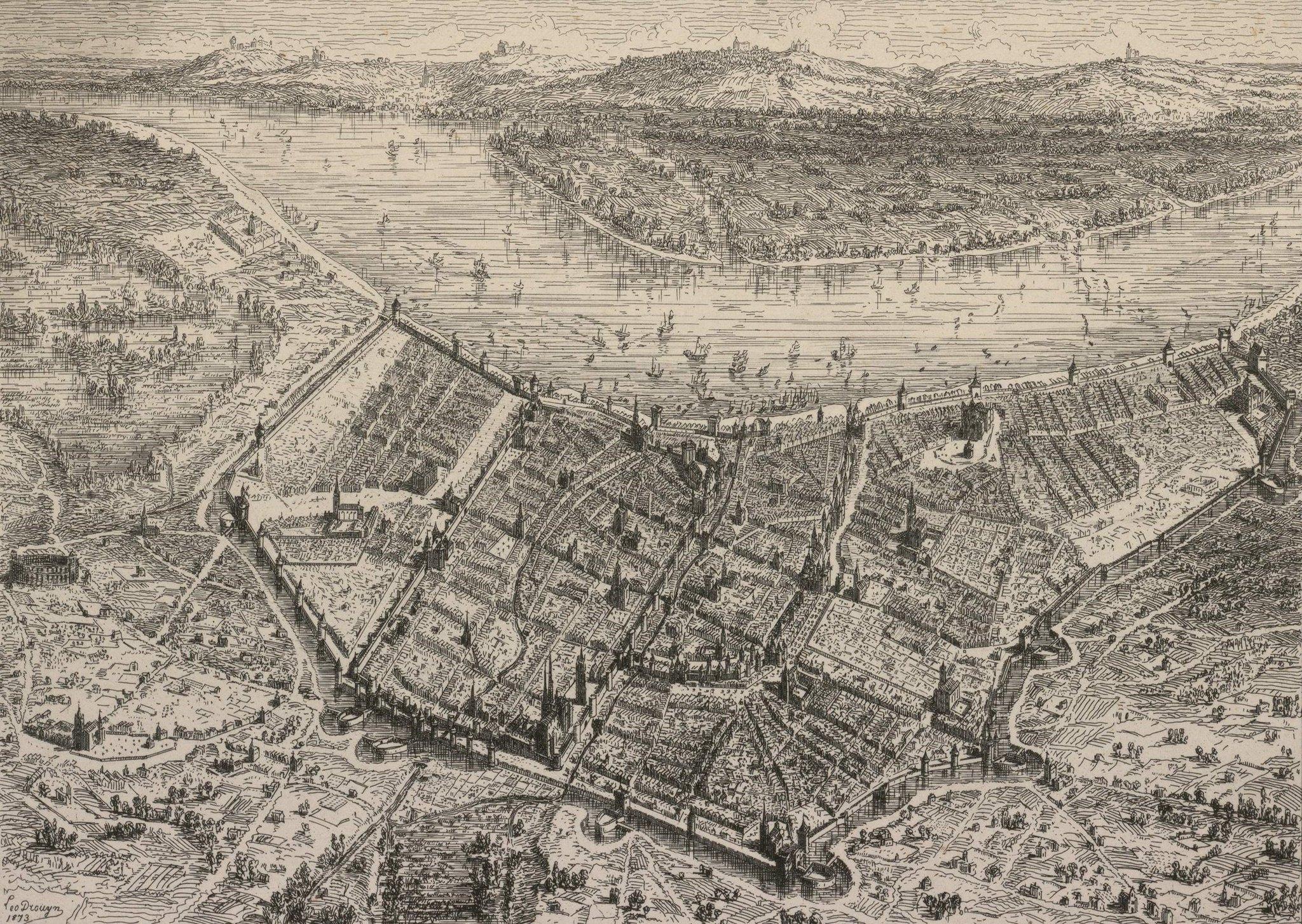 Une jolie vue de #Bordeaux en 1450, dessinée par Léo Drouyn. Et on y aperçoit déjà #Lormont ! #gironde #Garonne #histoire #patrimoine #vuedenhaut #dessin twitter.com/selenebordeaux…