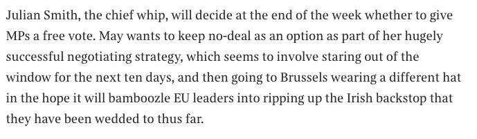 This is a perfect description from @MattChorley of May's Plan B approach in a v good piece on the current paralysis in British politics and the dearth of leadership from all sides on Brexit    https://t.co/yKCXnjBAkq