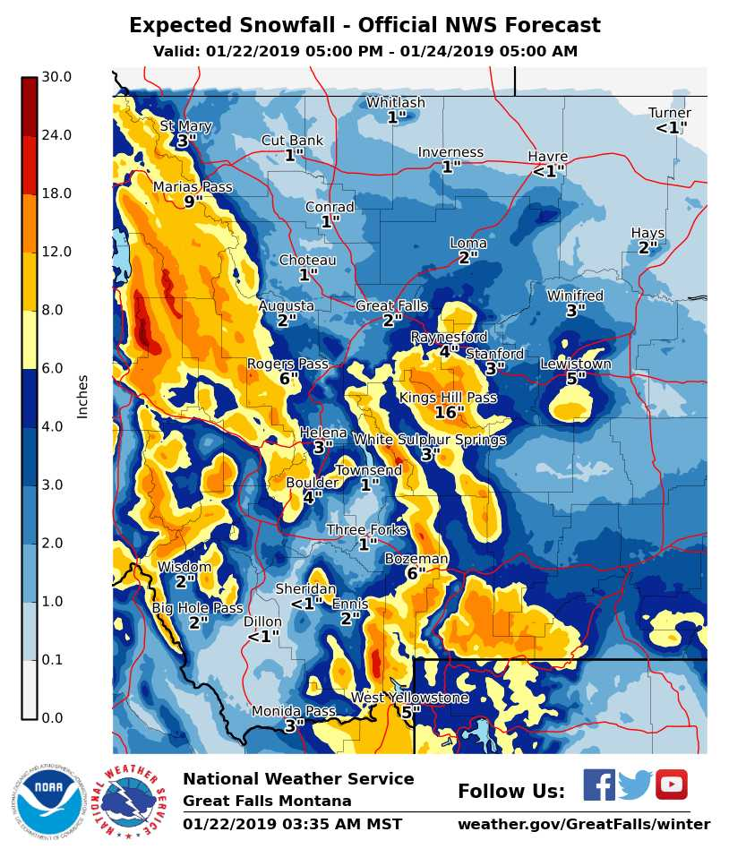 Here is the forecast snowfall from this evening to early morning Thursday. Get more info at https://t.co/5kv9gqexyW. #mtwx