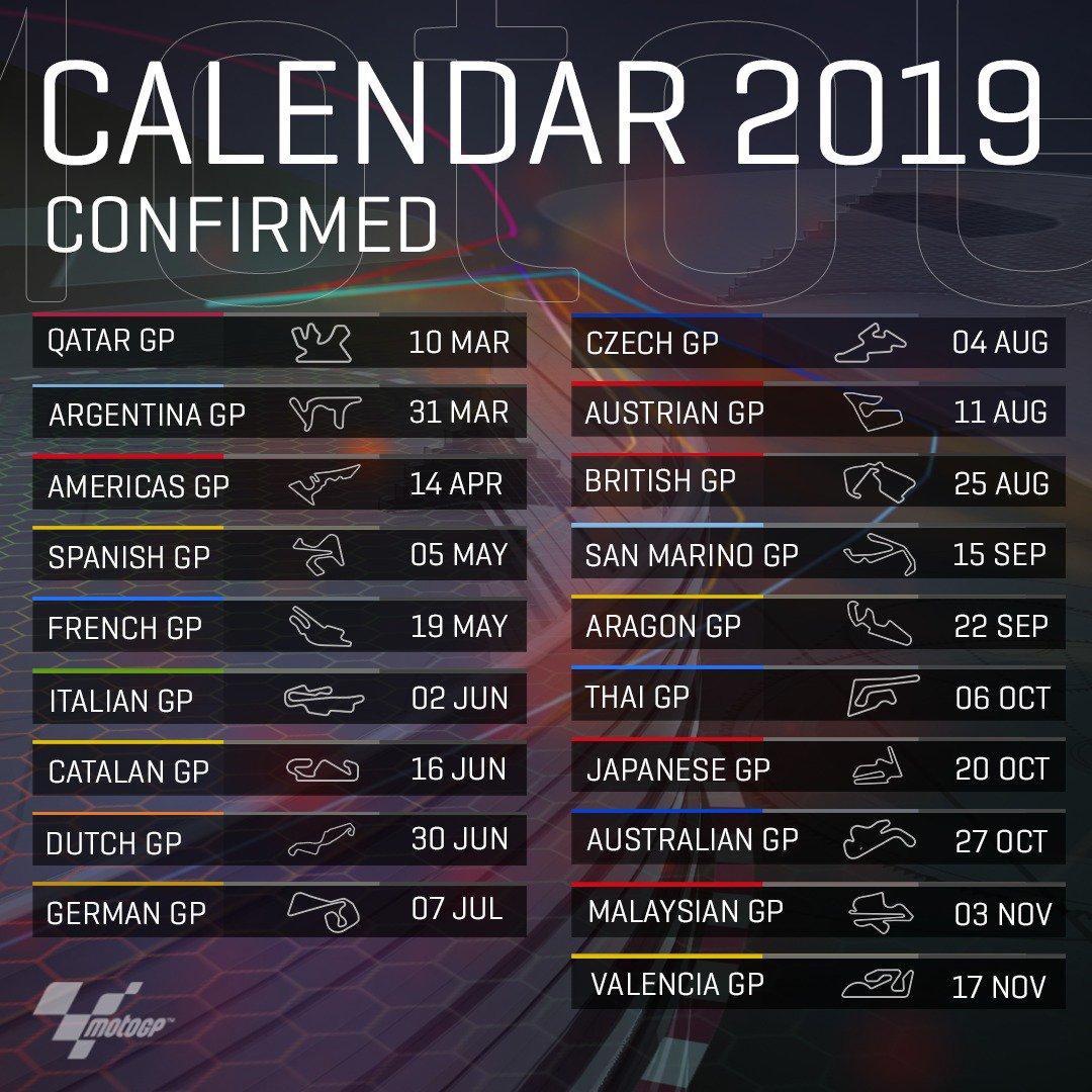 2019 motogp calendar confirmed who 39 s ready for some racing. Black Bedroom Furniture Sets. Home Design Ideas