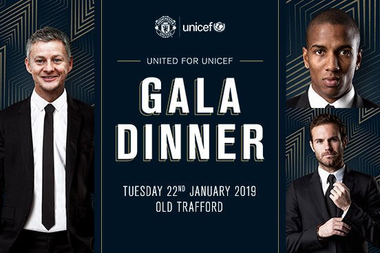 Coming up at Old Trafford tonight…  Ole and the team will be helping raise money for @UNICEF_ukat the #United4UNICEF Gala Dinner. #MUFC