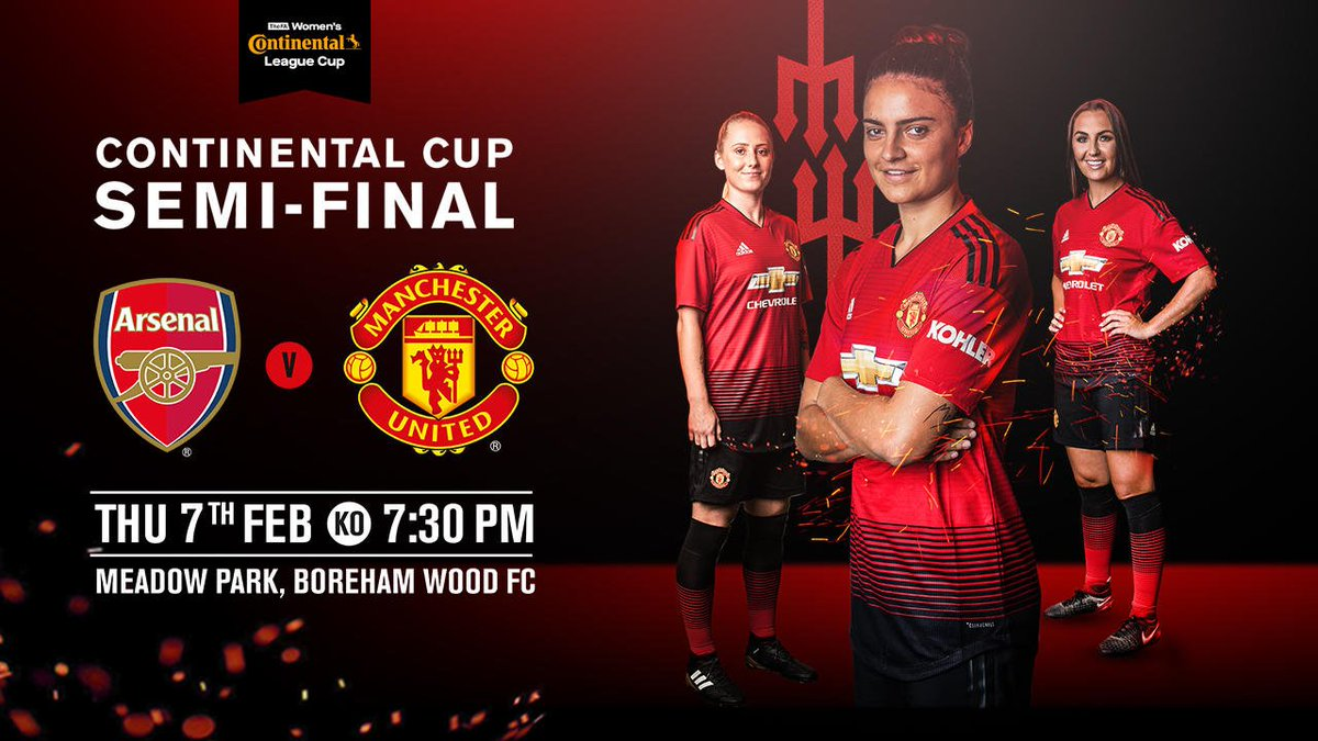 #MUWomen's #ContiCup semi-final with Arsenal will be played at Meadow Park on Thursday 7 February, with kick-off at 19:30 GMT.  Who's excited? 😁