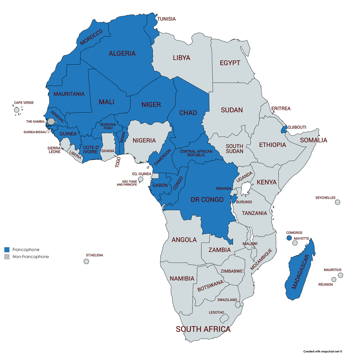 Map Of Africa In French