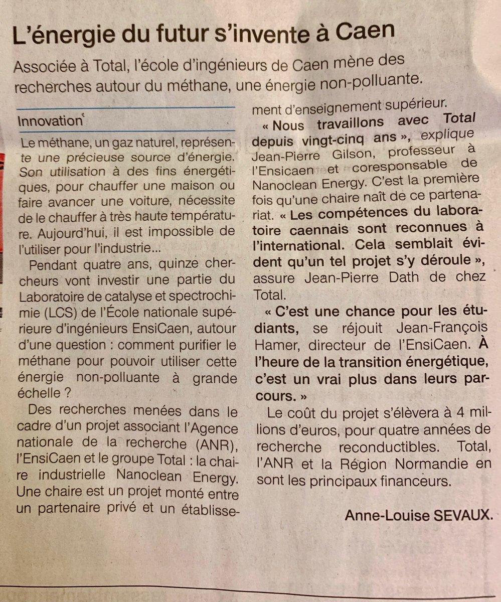 Article dans le @OuestFrance14 version papier sur l' #inauguration de la #ChaireIndustrielle #NanoCleanEnergy @labo_lcs @Total @AgenceRecherche @ENSICAEN