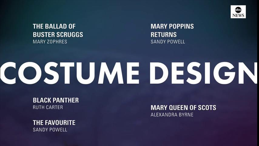 #Oscars Nominations: Costume Design: https://t.co/CSULSHxOIh The Ballard of Buster Scruggs Black Panther Mary Poppins Returns Mary Queen of Scots The Favourite  #OscarNoms